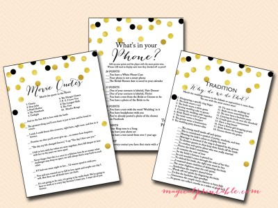 printable gold and black bridal shower game pack bs104 bs56 printable bridal shower