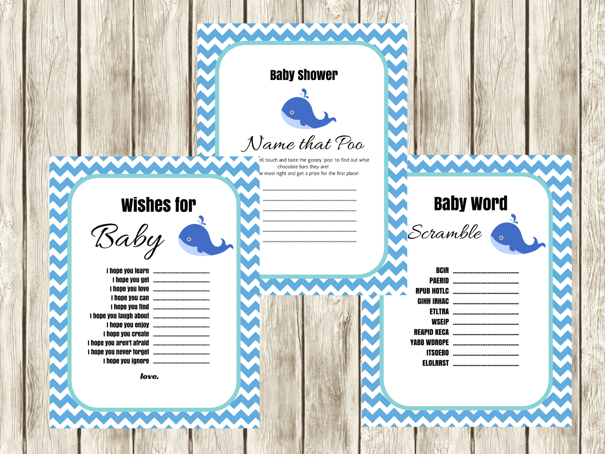 Blue Whale Baby Shower Game Set