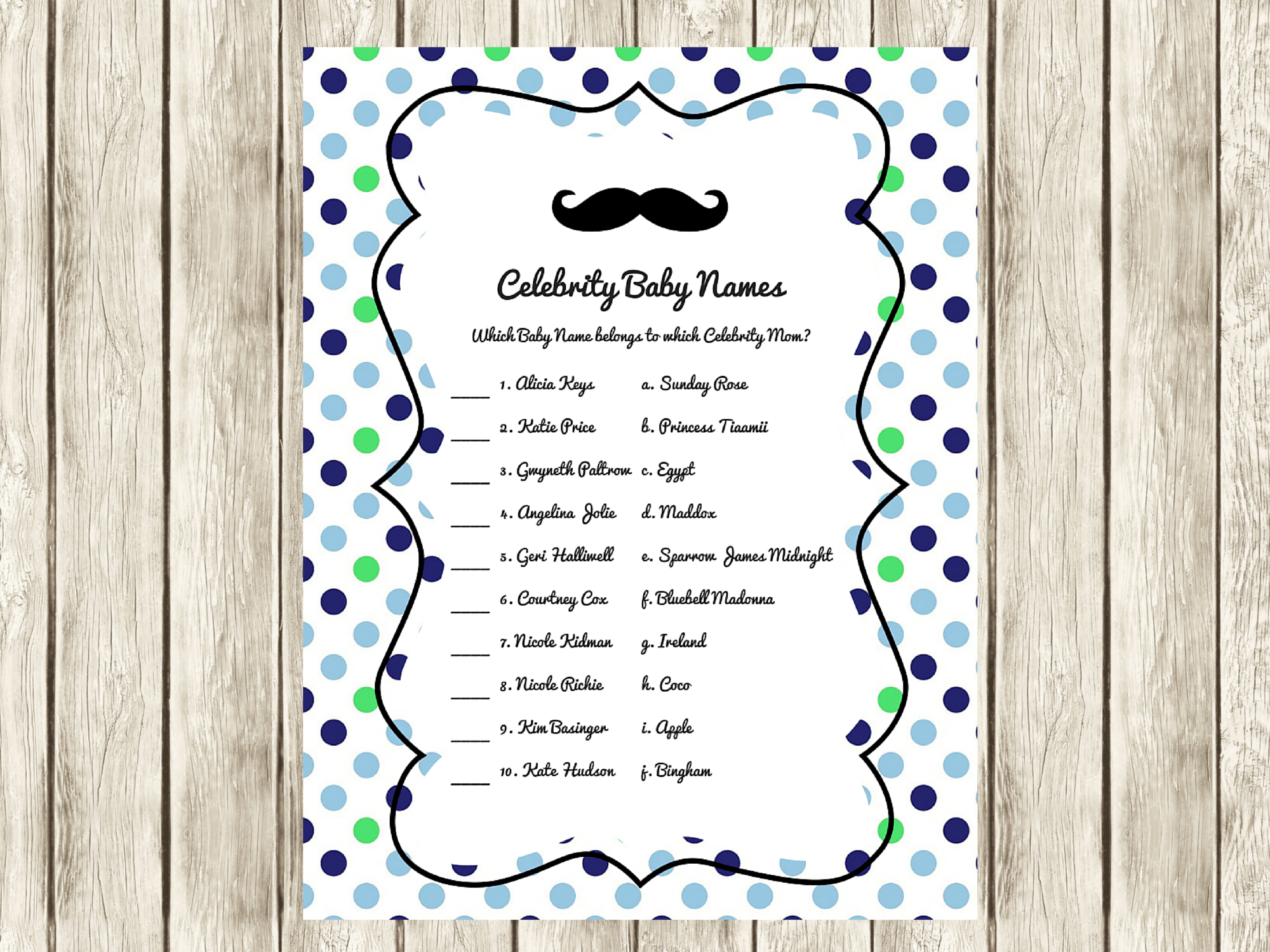 Free Green Blue Baby Shower Games