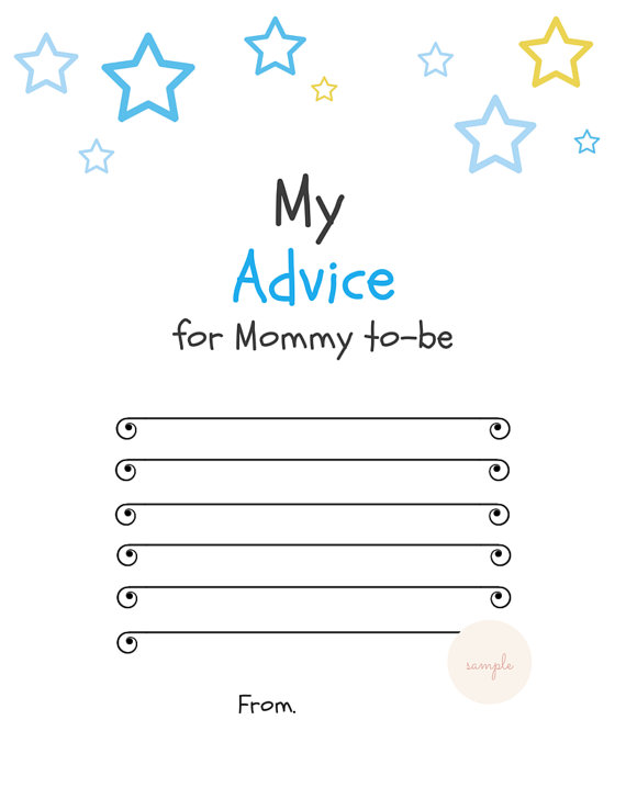 Blue Star Advice for Mommy to Be Cards - Magical Printable