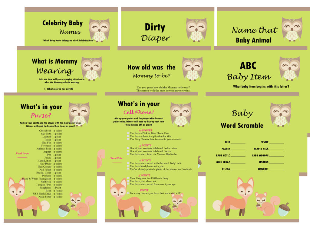 Woodland Themed Baby Shower Game Package