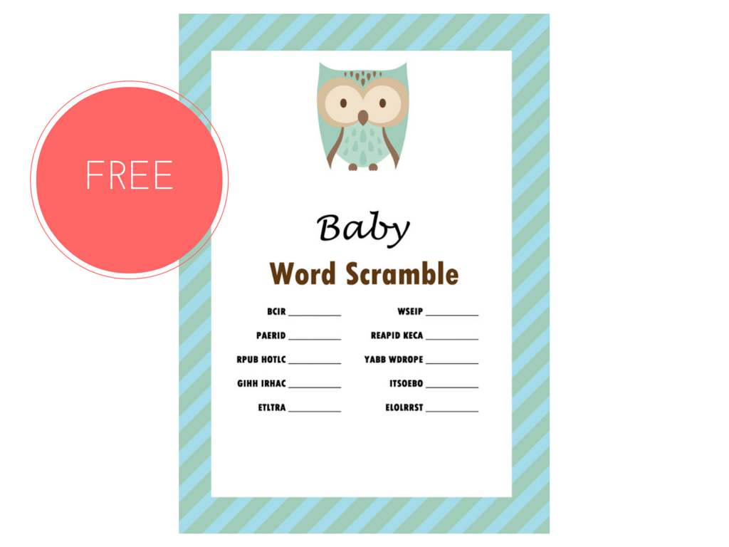 Free Owl Baby Word Scramble Game