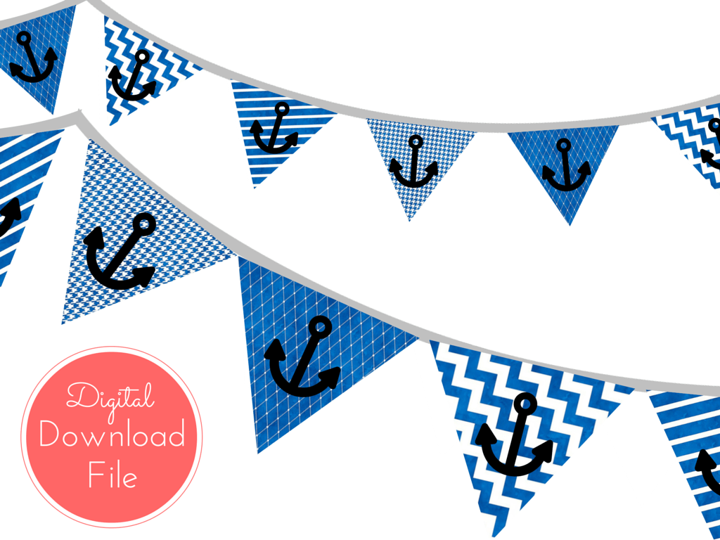 Blue Watercolor Nautical Baby Shower Banner