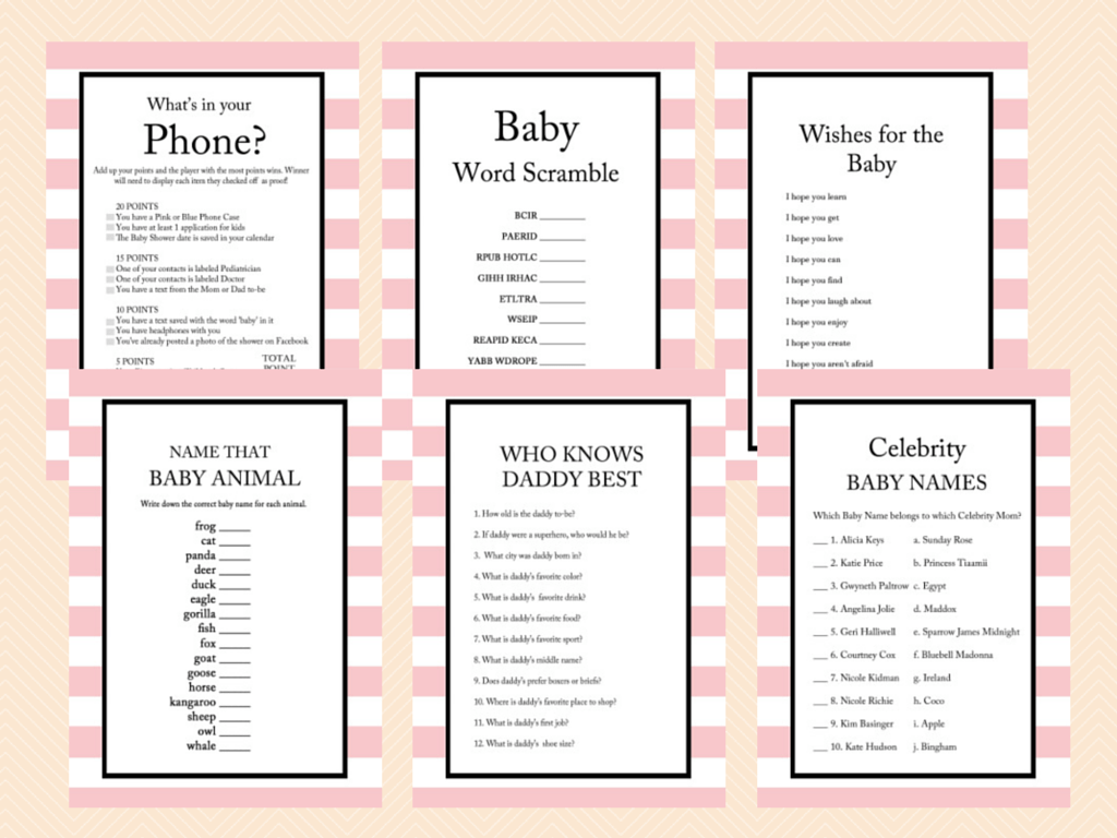 Pink Stripes Parisian Baby Shower Games