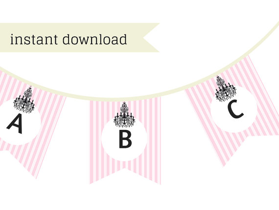 Pink Chandelier Banner Magical Printable