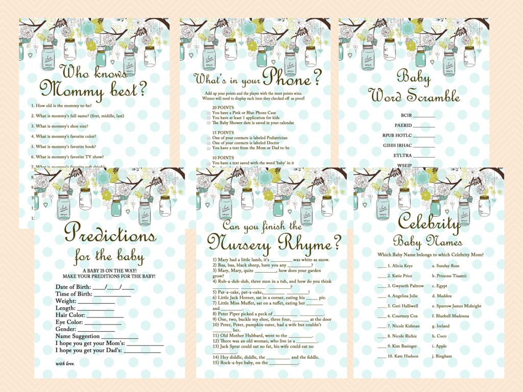 Mason Jars Baby Shower Game Package