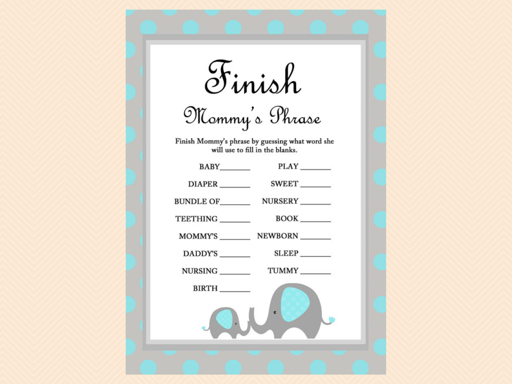 Blue Elephant Baby Shower Games Magical Printable