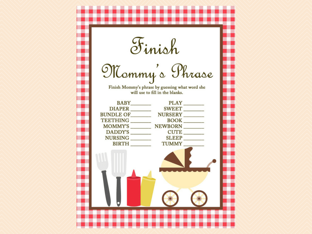 Bbq Baby Shower Game Printables