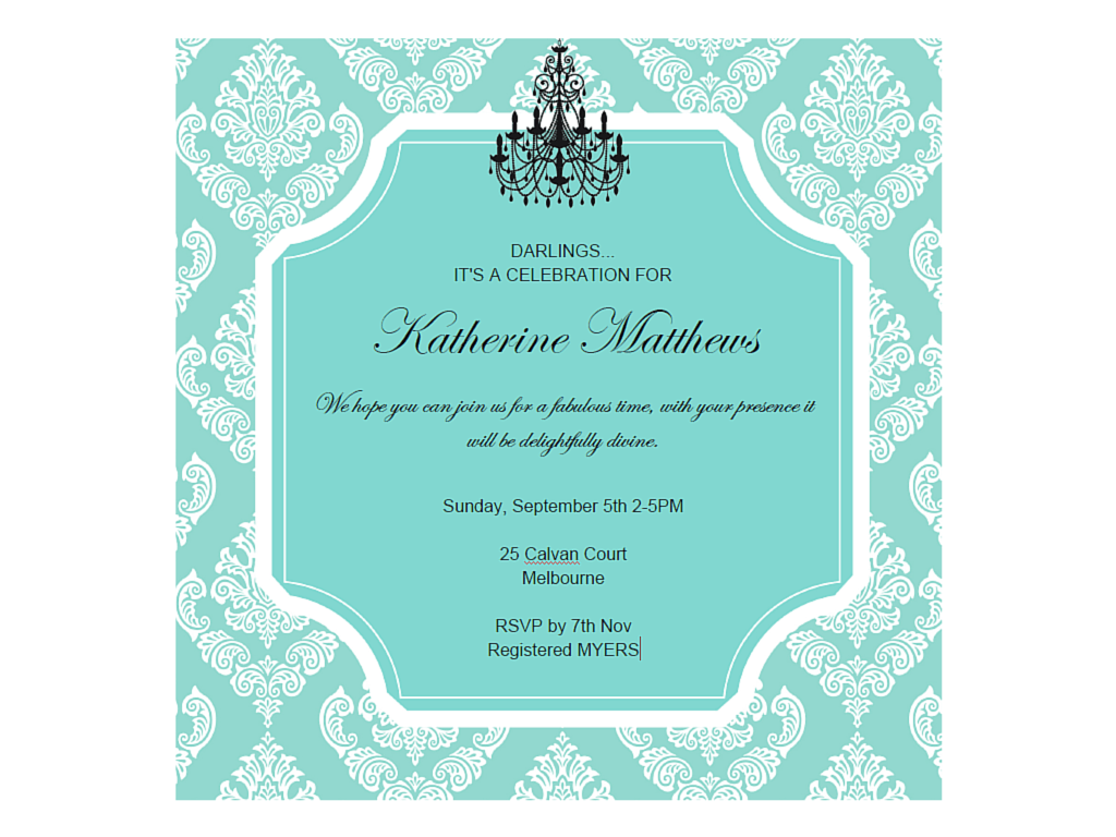 Editable Tiffany Invitations Magical Printable