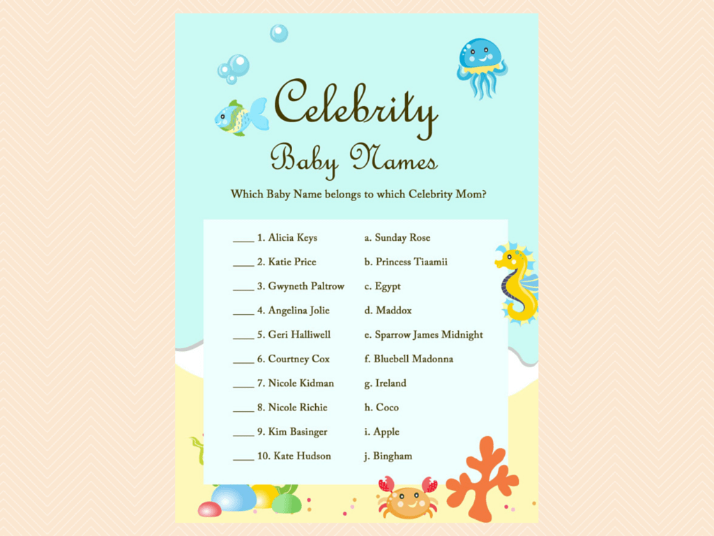 Under The Sea Baby Shower Game Package