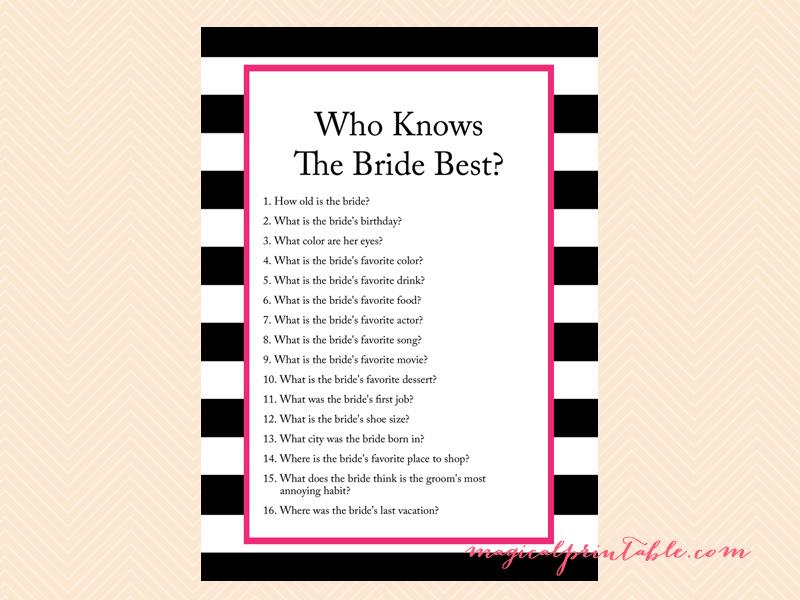 Hot Pink Black Stripes Bridal Shower Games Kate Spade