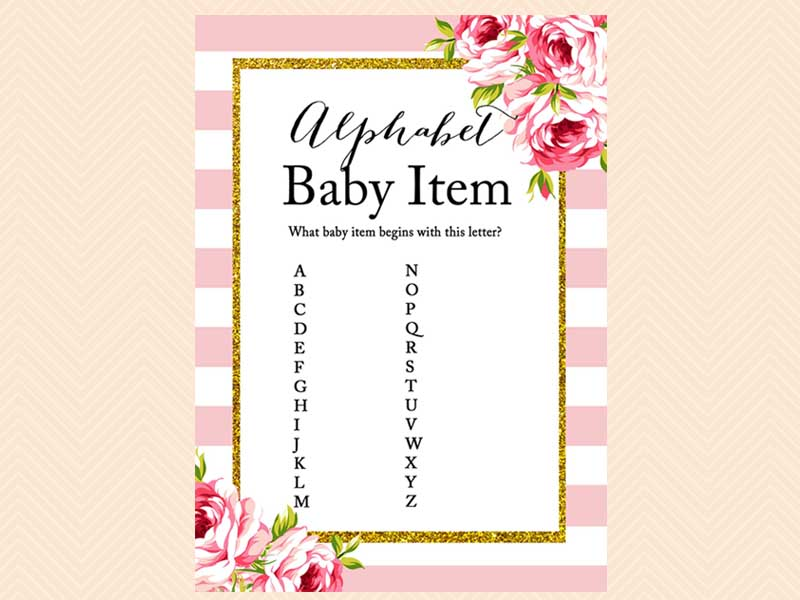 Pink floral baby shower game Set - Magical Printable