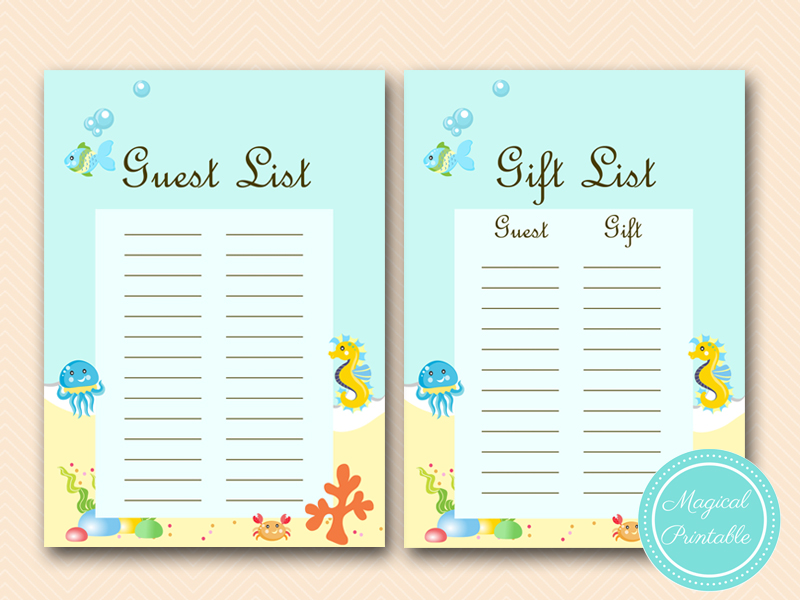 Under The Sea Baby Shower Game Package Magical Printable