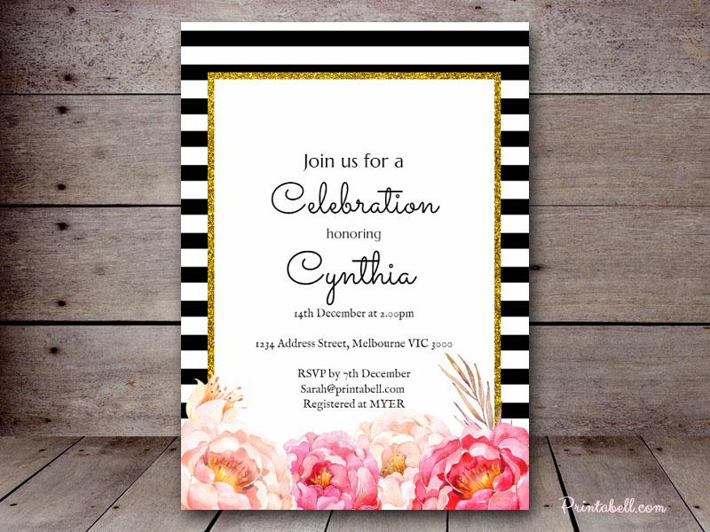 Free Wedding Shower Invitations: Free Peonies, Black Stripes, Bridal Shower Game Printables