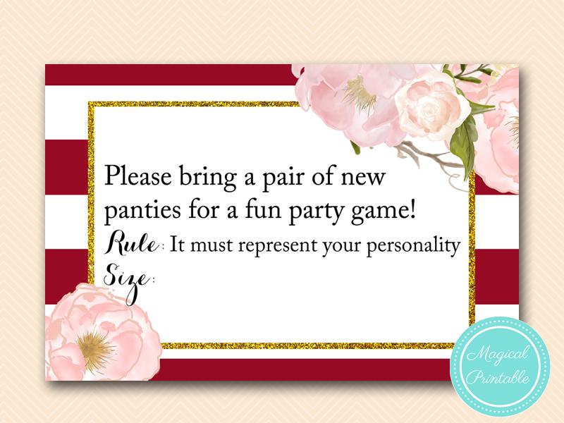 bs403 panties guessing game card marsala burgundy bridal