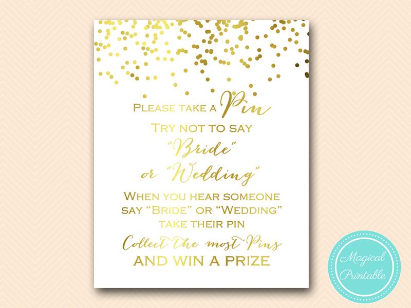 Gold Confetti Bridal Shower Games