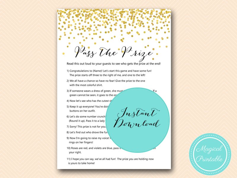 Gold Confetti Bridal Shower Game Mega Pack Magical Printable
