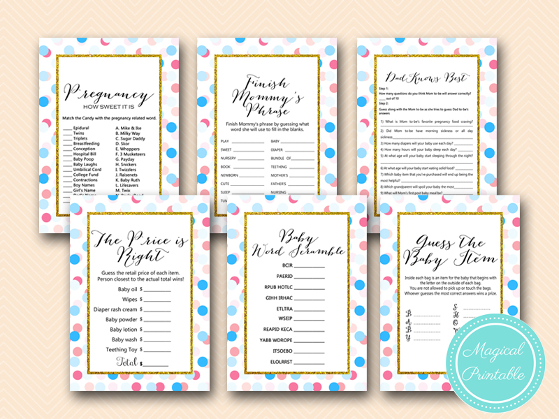 Baby Shower Game Gender Reveal Archives Magical Printable
