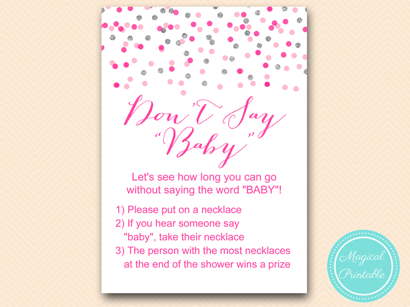 Pink Silver Baby Shower Game Printable Magical Printable
