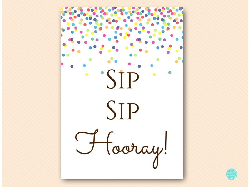 image relating to Sip Sip Hooray Printable titled Printable Bubbly Bar Signal Sip Sip Hooray - Magical Printable