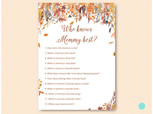 Autumn Fall Baby Shower Game Package Magical Printable