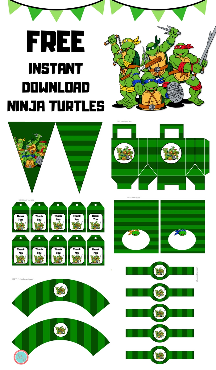 picture relating to Ninja Turtle Printable named Free of charge Teenage Mutant Ninja Turtles Social gathering Printables