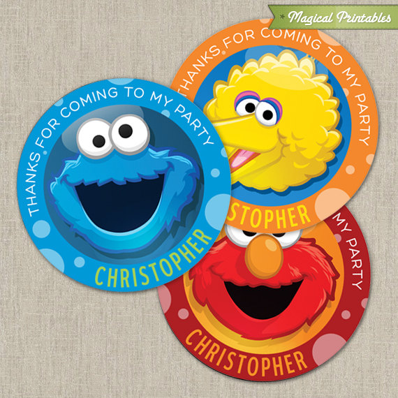 Sesame Street Printable Birthday Favor Tag Labels