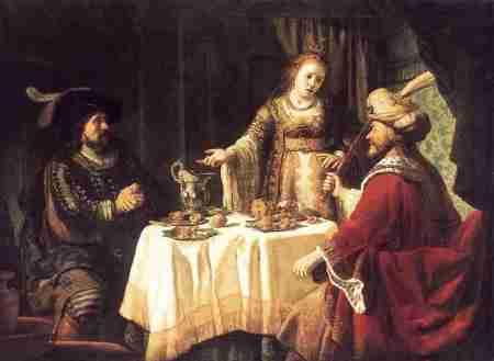 אחשוורוש והמן במשתה השני של אסתר