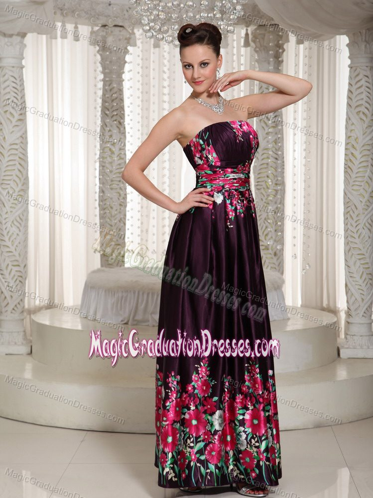 Strapless Ankle Length Printed Graduation Ceremony Dresses In Sarasota