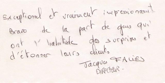 Jacques Faliès signe le livre d'or du mentaliste Xavier Nicolas