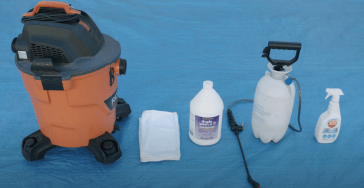 Tools you will need clean and disinfect your inflatable are a shop vacuum, clean rags, cleaning solution, disinfectant, and if needed a slide lubricant.