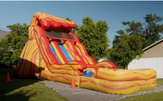 How to setup and tear down a commercial inflatable water slide.