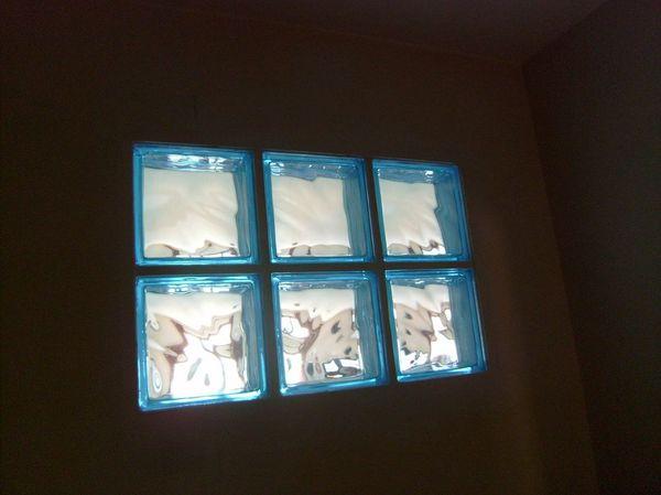 Briques de verre posées