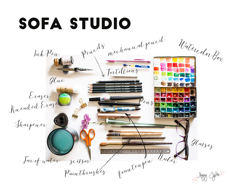 Art studio at home a sofa