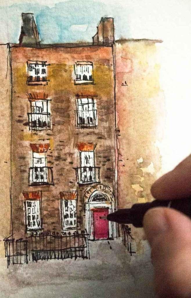 miniature painting of Dublin doors