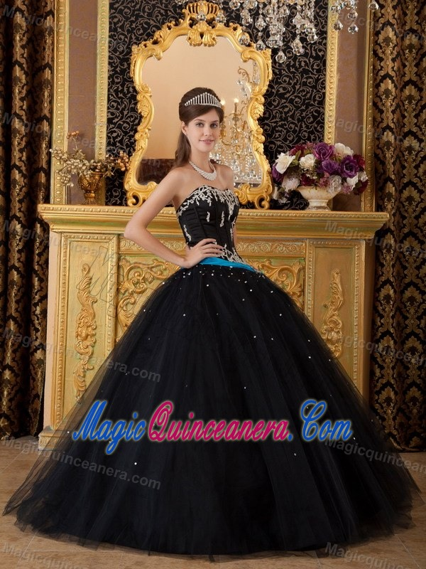 Strapless Black Sweet 16 Dress With Silver Embroidery And