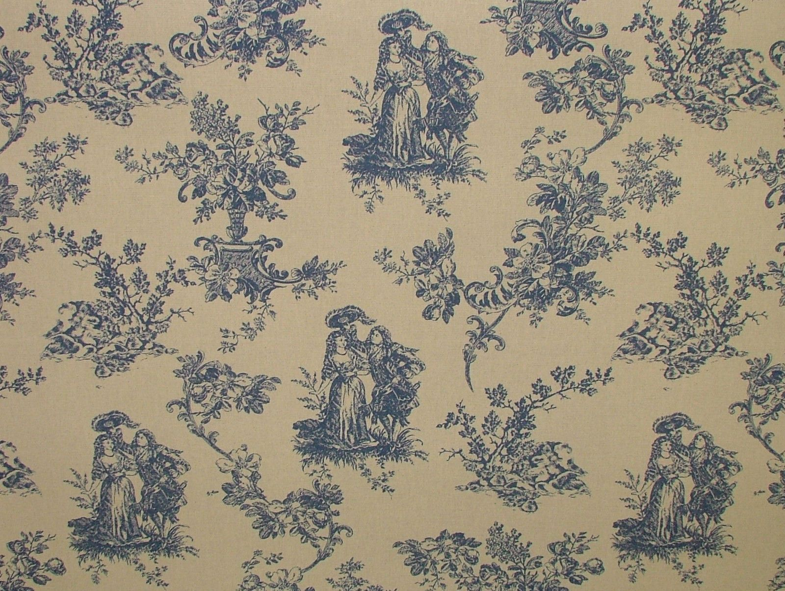 blue natural cream linen look toile de jouy curtain upholstery fabric