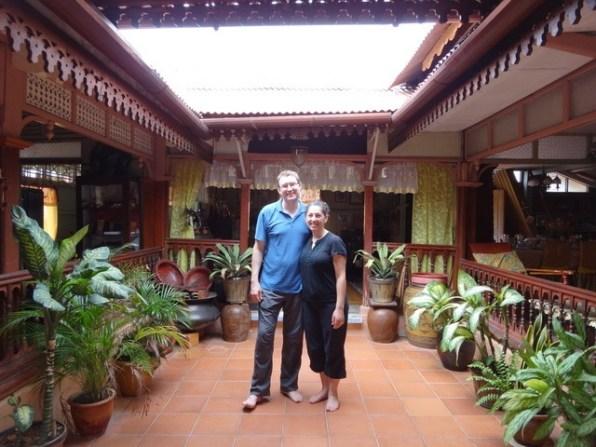 Tanya and Andrew in Malay house Melaka