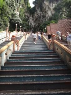 Looking up stairs to Batu caves Kuala Lumpur