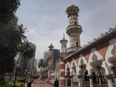 outside Masjid Jamek Kuala Lumpur