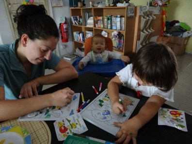 Tanya coloring with the kids at Old Town Guesthouse Melaka