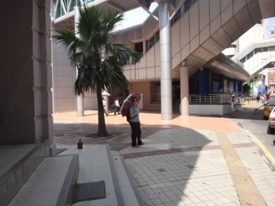Tanya with umbrella in Kuala Lumpur