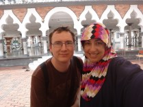us outside Mesjid Jamek Kuala Lumpur