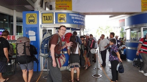 Getting a taxi from the Langkawi pier to wherever we want to go on Langkawi