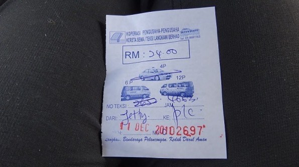 RM 24.00 for a taxi ride from the Langkawi jetty to Pantai Cenang