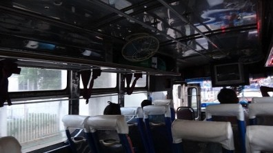 Inside the local bus from the train station to Seatran bus station