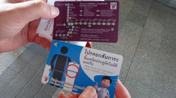 Bangkok BTS Skytrain passes with map on the back