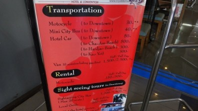 Royal Diamond Hotel - Transportation Price List