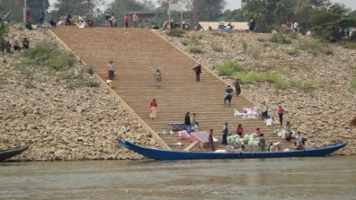 Boats transporting everything across the Mekong River - Thailand one side, Laos on the other.