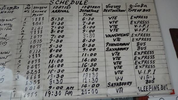 Luang Prabang Bus Station Schedule